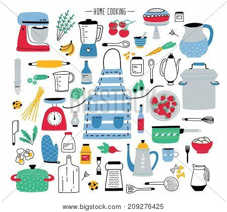 Collection of hand drawn kitchen utensils, manual and electric tools for home cooking, cookware, food ingredients, spices and homemade meals isolated on white background. Colorful vector illustration