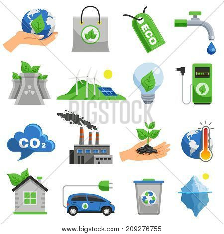 Ecology icon set with elements and attributes of ecological situation and pollution of nature vector illustration
