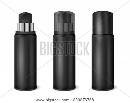Black aluminium spray cans set with transparent and dark opaque cap on and removed realistic vector illustration