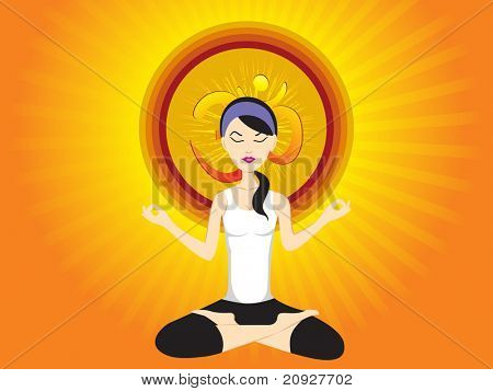 abstract yellow rays background with girl doing yoga