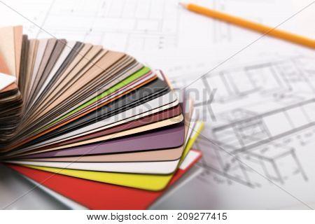 kitchen furniture design - material samples on project sketch