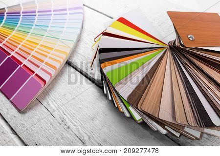 interior design - color and wood material samples on the table