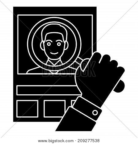 cv - human resources - personal icon, illustration, vector sign on isolated background