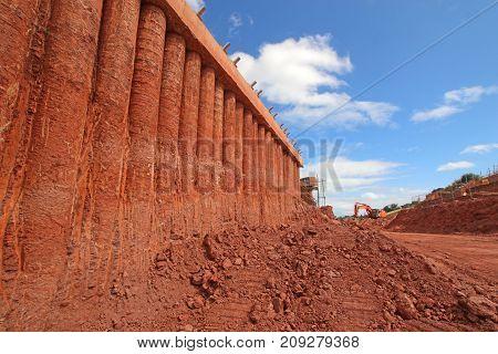 Concrete bridge supports on a road construction site