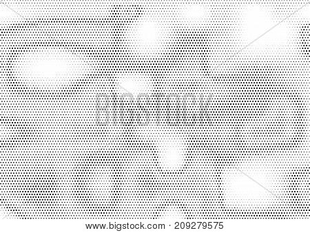 Creative horizontal halftone background with unevenly distributed dots in black and white colors. Modern grunge gradient dotted texture with stain effect. Monochrome abstract vector illustration