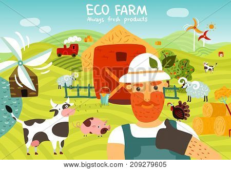 Eco Farm Composition With Worker Barn Windmills Garden Domestic Animals On Green