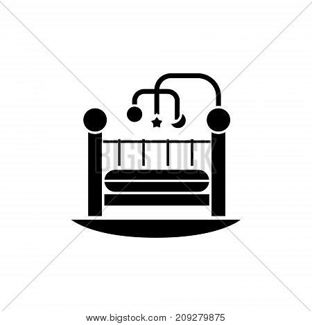 baby bed - crib icon, illustration, vector sign on isolated background