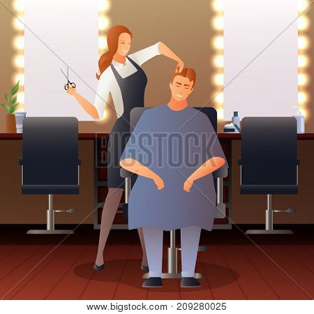 Hairdresser stylist barber gradient flat people composition with hairdressing salon interior seats mirrors and human characters vector illustration