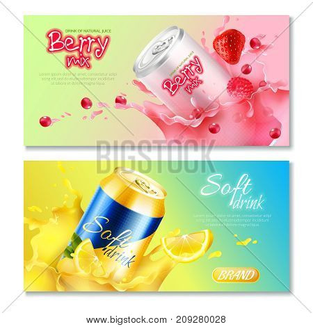 Two colored aluminum cans drinks horizontal banner set with drink natural juice berry mix and soft drink descriptions vector illustration