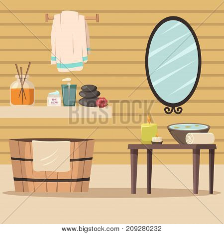 Spa salon flat colored background with massage relaxation and aroma therapy accessories vector illustration