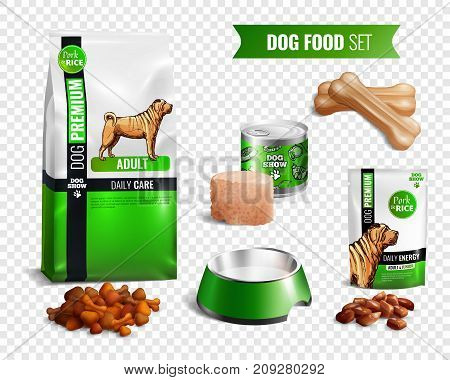 Colored realistic dog food transparent icon set with different types of food wet and dry vector illustration