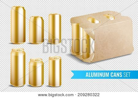 Aluminum cans transparent icon set for juice bear soda and various other drinks vector illustration