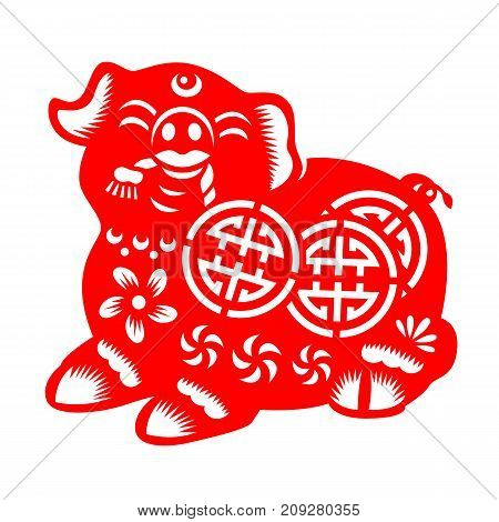 Red paper cut pig hold coin zodiac sign isolate on white background vector design