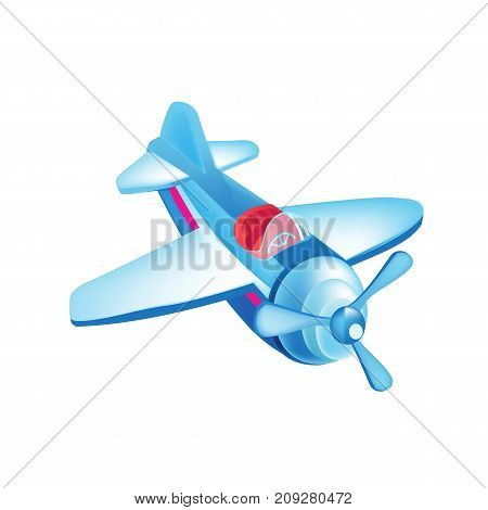 Modern colorful children's toys. Toy store, kindergarten, home kids games. Educational and sports games. Beautiful flying in the sky, airplane. Air vehicle. Vector illustration isolated.