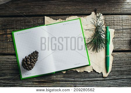 On The Old Wooden Table Located Items, Notebook, Pen, Pine Cone Branch Christmas Tree