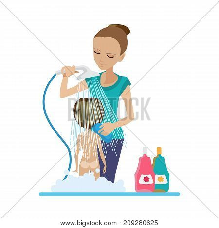 Mother and baby in different lifestyle situations. Happy family. Mom bathes her baby in the shower, in the bathroom, with soap and shampoo. Vector illustration in cartoon style.
