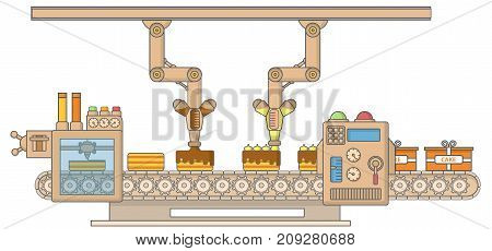 Cake printing machine vector illustration. Robotic cake decorating and packing machine thin linear flat style design element for web banners and printed materials.