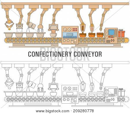 Cake printing machine vector illustration. Robotics bakery production concept. Robotic cake baking, decorating and packing system thin linear flat style design element for web banners and print.