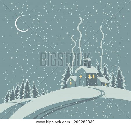 Vector winter night landscape with waning moon with village and church in the snowing forest