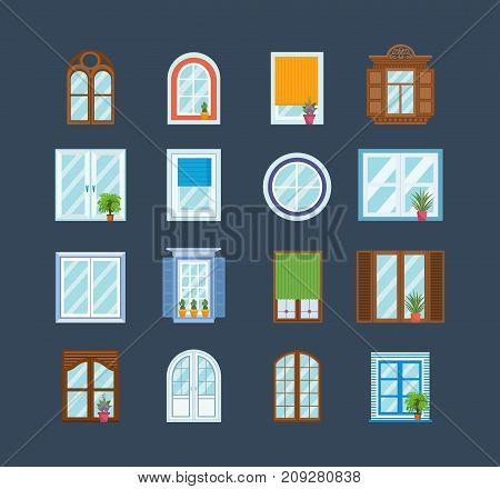Set of window frames. Architecture design outdoor, exterior view, home theme. Wooden and plastic windows for buildings, premises, structure. Flowers and plants on windowsill. Vector illustration.
