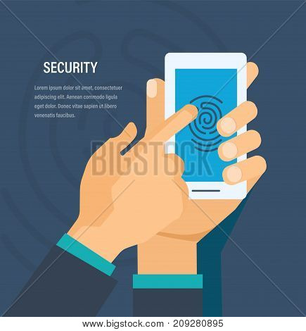 Security of personal data, protection payment, money and information. Authorization system, mobile application. Hands hold phone with software. Mobile security with fingerprint. Vector illustration.