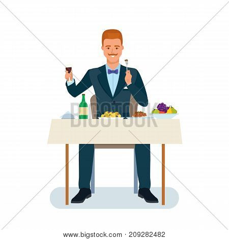 Smart creative man cartoon character. Man in beautiful business suit, businessman, sits at table, eats tasty expensive food, drink quality expensive drinks. Lunch, dinner, eating. Vector illustration.