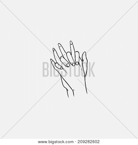 Two hands with interlocked or intertwined fingers hand drawn by black contour lines on white background. Symbol of love, close relationship, trust, tenderness, support. Monochrome vector illustration
