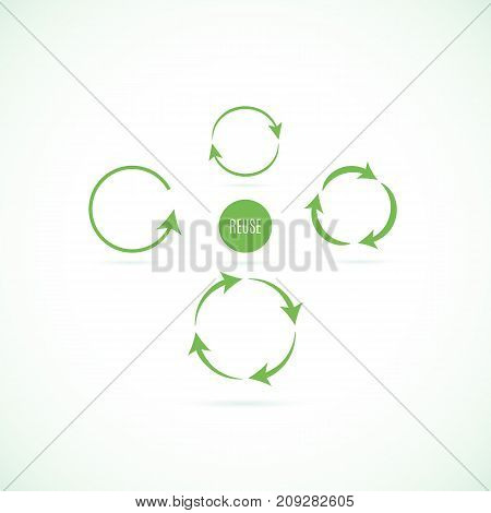 Set of green circular arrows on white background