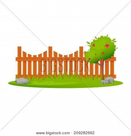 Decorative wooden fences. Exterior, appearance, design of gates and surrounding area. Lawn and fruit tree next to wooden fence, landscape. Outdoor fence architecture elements. Vector illustration.