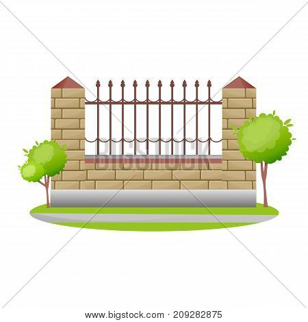 Decorative stone and metal fences. Exterior, appearance, design of gates and surrounding area. Lawn next to fence and lantern, landscape. Outdoor fence architecture elements. Vector illustration.