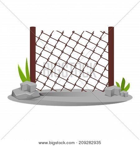 Decorative metal fences. Exterior, appearance, design of gates and surrounding area. Lawn next to fence and lantern, landscape. Outdoor fence architecture elements. Vector illustration.