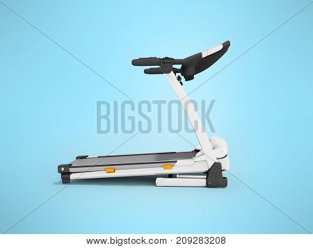 Contemporary Sports Jogging Track White With Right Side 3D Render On Blue Background
