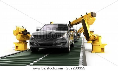 Robot Assembly Line In Car Factory 3D Render On White
