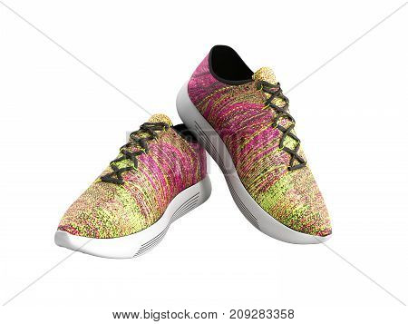 Pair Of Pink Sport Shoes 3D Render On White Background No Shadow