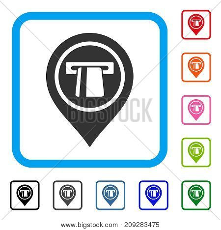 Bank Machine Pointer icon. Flat grey iconic symbol in a light blue rounded square. Black, gray, green, blue, red, orange color variants of Bank Machine Pointer vector.