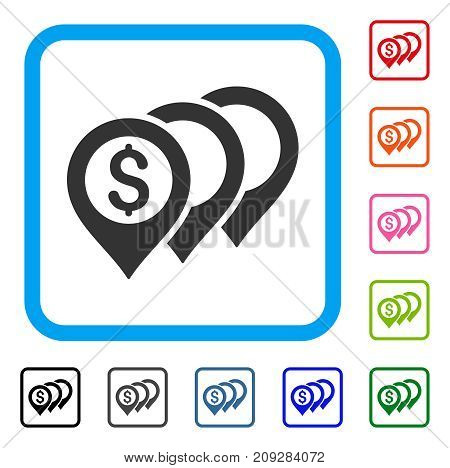 Dollar Map Pointers icon. Flat grey pictogram symbol inside a light blue rounded squared frame. Black, gray, green, blue, red, orange color versions of Dollar Map Pointers vector.
