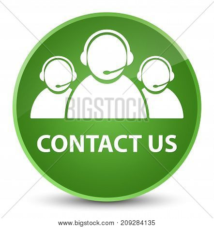 Contact Us (customer Care Team Icon) Elegant Soft Green Round Button