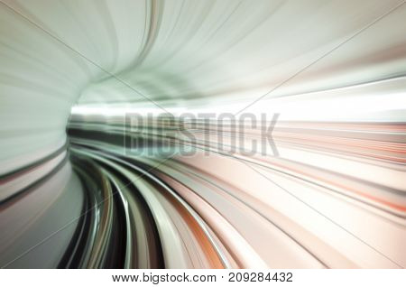 Abstract train tunnel view in high speed.