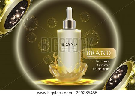 Cosmetic container with advertising background ready to use, luxury skin care ad. Illustration vector