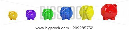 Piggy banks in different sices and colors as money or finance concept (3D Rendering)