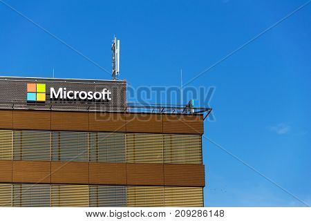Prague, Czech Republic - October 14: Microsoft Company Logo On Headquarters Building On October 14,