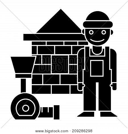 builder - brick house - meter icon, illustration, vector sign on isolated background