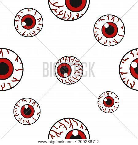 Seamless pattern with creepy eyeballs. Vector illustration