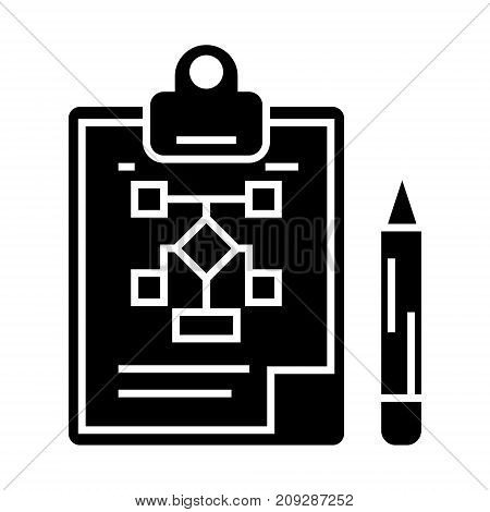 business scheme - business plan - pencil - clipboard icon, illustration, vector sign on isolated background