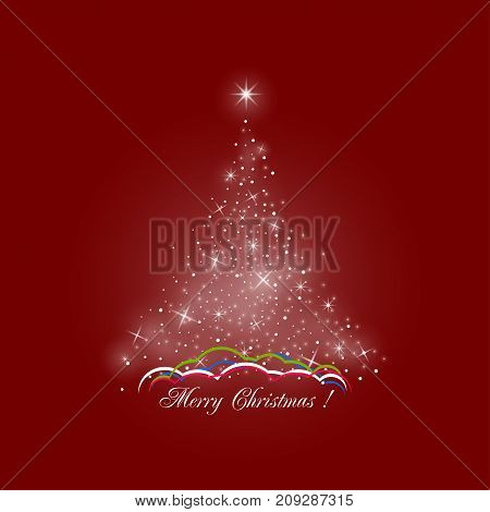 Bright Stylized Christmas Tree of Lights on Red Background Colorful Snow Drifts Merry Christmas