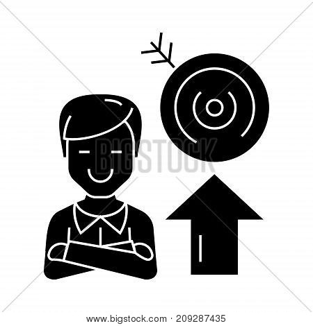 businessman - success - goal target icon, illustration, vector sign on isolated background