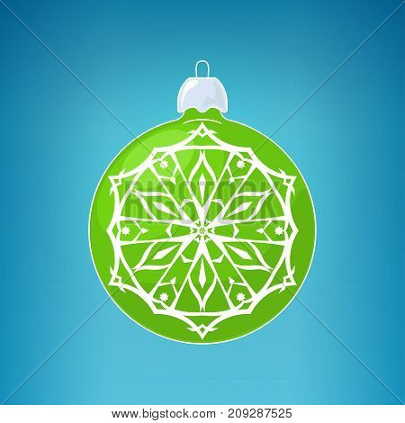 Green Ball with Snowflake Christmas Ball on a Blue Background Christmas Tree Decoration Merry Christmas and Happy New Year