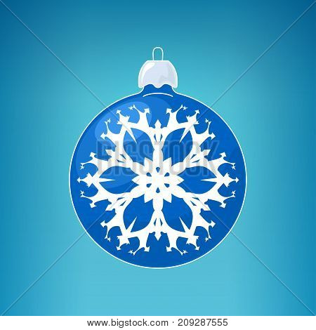 Christmas Ball with Snowflake Blue Ball on a Light Blue Background Christmas Tree Decoration Merry Christmas and Happy New Year
