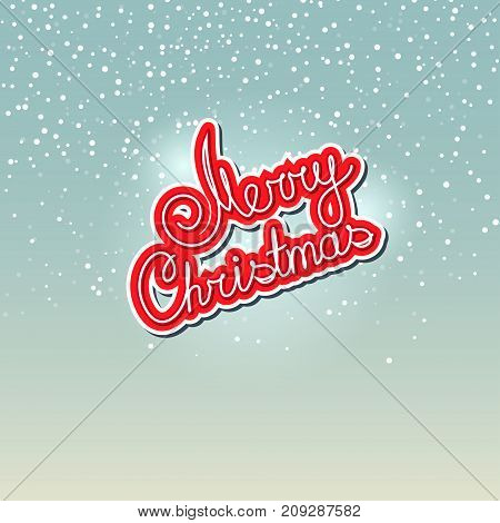 Merry Christmas Red Text Merry Christmas on Snowfall Background in Turquoise Shades Winter Background with the Words Merry Christmas