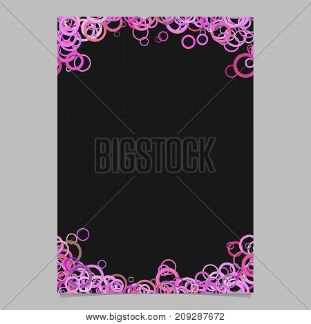 Color abstract random circle design flyer background template - trendy vector blank brochure border graphic from pink rings
